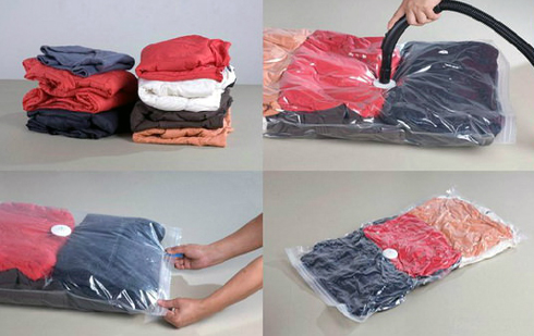 Вакуумні пакети хороші тим, що запакований в них одяг займає мало місця в шафі .
